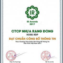 "RANG DONG PLASTIC IS HONORED TO BE AWARDED WITH THE PRIZE ""MEETING STANDARD ON INFORMATION DISCLOSURE"" ON THE VIETNAM SECURITIES MARKET 2017"